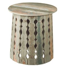 Reclaimed Washed Wood Side Table