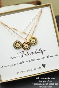 Best Friend Gift,Rose gold Compass Necklace,Best Friend Necklace,Friendship Necklace,BFF Gift,Friendship Gift,compass jewelry,compass charm (Best Friend Necklaces)