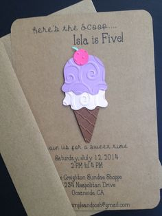 Ice Cream Cone Invitations for a Girl Custom Made for Kid's Birthday Party or Baby Shower on Kraft Paper, Set of 8 Invites