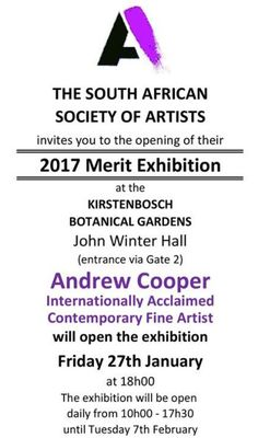 The South African Society of Artists (SASA) 2017 Merit Exhibition opens next Friday, 27 January at in the wonderful Kirstenbosch Gardens in Cape Town. Many of South Africa's top … Cape Town, Exhibitions, South Africa, January, Friday, Gardens, Artists, Top, Outdoor Gardens
