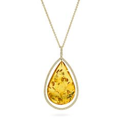 House of Amber - A necklace in 18 carat gold, cognac amber, and 1.06 ct brilliants. The necklace has a stunning design and is a part of the Bond of Orbit Collection.