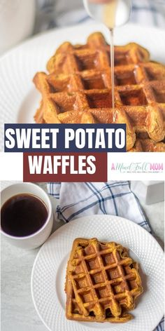 "Gluten Free Sweet Potato Waffles--A Mind ""Full"" Mom Sweet Potato Flour, Sweet Potato Waffles, Sweet Potato Breakfast, Canned Sweet Potato Recipes, Breakfast Potatoes, Potato Pancakes, Pancakes And Waffles, Healthy Waffles, Gluten Free Waffles"