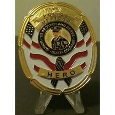 Police Hero Commemorative Oval Flat Badge for Plaque/Shadowbox Peel & Paste Back