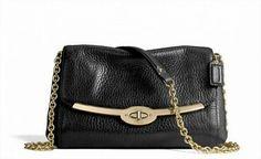 Bolsa Coach 49738 Madison Chain Crossbody In Leather Black #Coach#Bolsa
