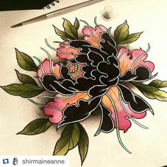 #illustration #neotraditionel #neotraditional #neo #traditionel #traditional #draw #drawing #tattoo #ink #tattooed #inked #sketch #sketches #flowers #peony