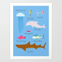 The Life Aquatic Fish Chart Art Print by Jenni's Prints - $15.00 #wesanderson #lifeaquatic