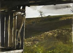 """Artist:  Andrew Wyeth  Title: Wylie's Scythe  Medium: Watercolor on paper  Year Completed: 1986    Dimensions: 22"""" x 29.88""""  Signed: Andrew Wyeth/Lower right  Copyright Andrew Wyeth"""