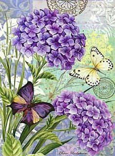 Decoupage Vintage, Decoupage Paper, Vintage Cards, Vintage Paper, Vintage Images, Flower Collage, Flower Art, Flower Beds, Art Floral