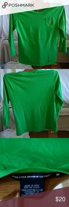 Ralph Lauren Sport Shirt Ralph Lauren Sport 3/4 length sleeve Kelly green shirt. EUC. In my opinion, it's smaller than a medium. Ralph Lauren Blue Label Tops Tees - Long Sleeve