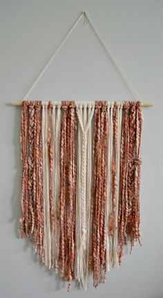Boho Macrame Wall Hanging Rust, Rose Blush Pink and Cream Yarn Boho Nursery Minimalist Wall Decor Wall Hanging Boho Farmhouse - Wall hanging diy, Minimalist wall decor - Yarn Wall Art, Yarn Wall Hanging, Diy Wall Art, Diy Wall Decor, Wall Hangings, Bedroom Minimalist, Minimalist Decor, Minimalist Interior, Minimalist Kitchen