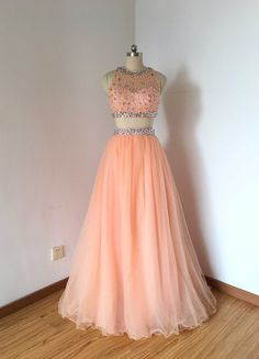Beaded Two Piece Baby Pink Tulle Long Prom Dress by DressCulture