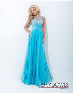 Tony Bowls 114516 Strapless Prom Dress available at  Margene's Bridal. Mesh gown with sheer illusion upper bodice and cap sleeves, open back, beaded bodice and waist, with beading scattering down softly gathered skirt. Colors:Coral, Blue, Light Green and Dark Blue