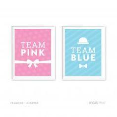 Gender Reveal Baby Shower Team Pink/Blue Party Signs, 2−Pack! #AndazPress #GenderReveal #BabyShower #teampink #teamblue #diy #candybuffet #signage