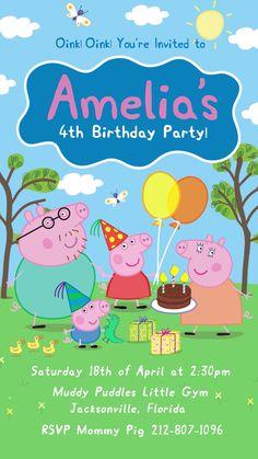 Peppa Pig Party Invitation Peppa Pig Birthday Invitations, Pig Birthday Cakes, Party Invitations Kids, Peppa Pig Birthday Ideas, Peppa Pig Party Ideas, Peppa Pig Birthday Decorations, Peppa Pig Party Supplies, Invitation Ideas, 5th Birthday