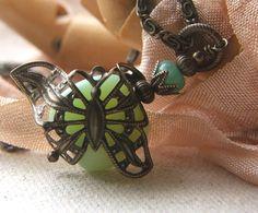 Filigree butterfly necklace Art Nouveau style by lilruby on Etsy, $38.00
