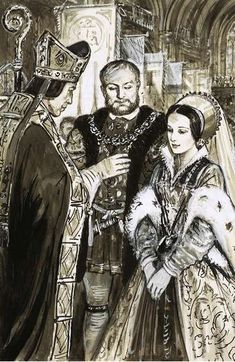 Henry VIII and Anne Boleyn blessed by a bishop. By C.Doughty.