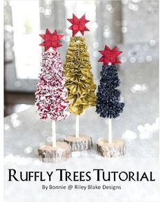 Riley Blake Designs -- Cutting Corners: Ruffly Trees Tutorial featuring the Lost and Found Christmas Collection designed by My Mind's Eye for Riley Blake Designs #rileyblakedesigns #ruffletrees #tutorial #christmas #decor #holiday #craft #lostandfoundchristmas