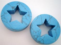 Star Turquoise Stone Plugs (1/2 inch - 2 inch)