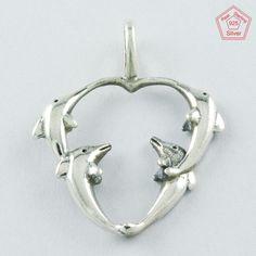 Fish Design Heart 925 Sterling Silver Pendant P4604 #SilvexImagesIndiaPvtLtd #Pendant