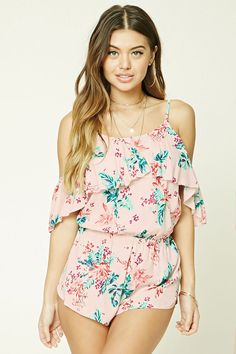 A woven cover-up romper featuring an allover floral print, open-shoulder design, ruffled flounce layer, adjustable straps, a round neckline, self-tie back straps, and an elasticized waist.