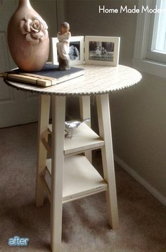 Up cycle - DIY table made from an old bar stool. nice. this may solve many table needs for me.
