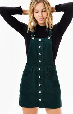 Give your casual style a throwback feel with the Button Front Corduroy Dress by PacSun. Constructed from a vintage corduroy fabric, this overall-style dress is complete with adjustable straps, square neckline, and full button-down front closure. Corduroy Overall Dress, Overall Skirt, Corduroy Blazer, Corduroy Skirt, Vans Outfit, Overalls Outfit, Winter Dress Outfits, Skirt Outfits, Dress Winter