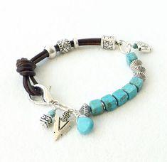 Turquoise Bracelet, Brown Leather Bracelet, Turquoise Silver Bracelet, Southwestern Jewelry, Sundance Style, Geometric, Gift Women, Stacking