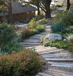 Outdoor Garden Wood Staircase in California by Bernard Trainor, Gardenista