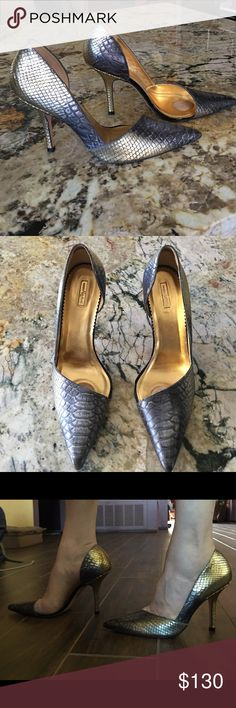 """Beautiful gold and black ombré snake pumps Natural snake embossed leather . Color changes from gold to dark grey. Deep cut on inside the foot opens part of the big toe. Pointy. Cushioned. 4""""heel. Very elegant formal pumps. Worn only few times. Inside and outside like new. Scuff marks on the sole. Made in Brazil Report Signature Shoes Heels"""