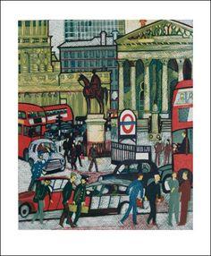The Royal Exchange, 1975. Linocut by Rupert Shephard.