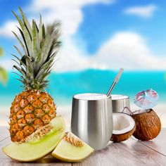 Wine Glass, Pineapple, Stainless Steel, Fruit, Food, Pine Apple, Essen, Meals, Yemek