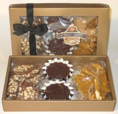 Toffee Fudge Peanut Brittle Candy Gift Box - Handmade Almond Toffee, Chocolate Fudge and Peanut Brittle In Gift Box - Perfect Gift For Women, Men and Kids (One Pound) - http://mygourmetgifts.com/toffee-fudge-peanut-brittle-candy-gift-box-handmade-almond-toffee-chocolate-fudge-and-peanut-brittle-in-gift-box-perfect-gift-for-women-men-and-kids-one-pound/