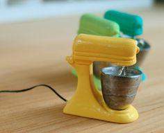 Dollhouse Kitchen Accessory - Miniature Stand Mixer in Lemon Yellow - 1/12 scale Miniature tutorials