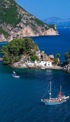 The Island of Panagia off the coast of Parga, Preveza, Greece