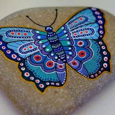 Butterfly painted stone