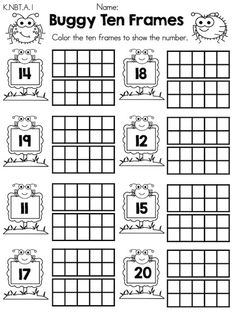 Buggy Ten Frames >> Teen Numbers >> Part of the Spring Kindergarten Math Worksheets >> Common Core Aligned