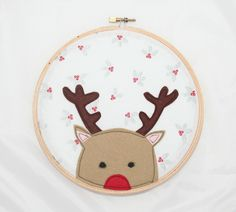 Rudolph the Red Nosey Reindeer Hoop Art - The Supermums Craft Fair