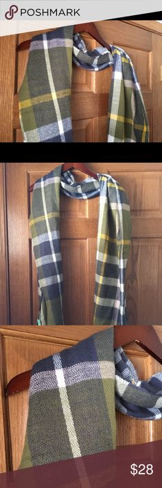 Shireleah Illinois Square Scarf, NWT, olive cream Lovely, new with tags scarf from Stitch Fix. Shireleah brand, Illinois Square pattern. Colors are a lovely ivory and olive with a little goldenrod yellow and dusty grayish blue. Gorgeous colors! This is a traditional long scarf, not an infinity scarf. shireleah Accessories Scarves & Wraps