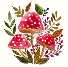 Printable Clip Art, Watercolor Mushrooms PNG, JPG format by MoleskoStudio on Etsy Watercolor Fox, Watercolor Flowers, Watercolor Paintings, Illustration Noel, Watercolor Illustration, Art Aquarelle, Mushroom Art, Clip Art, Painting Inspiration