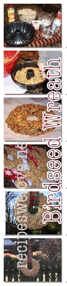 Birdseed Wreath  4 cups bird seed feed 3/4 cup all purpose flour 1/2 cup water 3 Tablespoons corn syrup 1 package of plain gelatin cooking spray bundt pan or other mold with a hole in the center (I also used cookie cutters for ornaments)