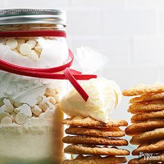 Crunchy with refreshing notes of citrus, these lemon crispies make a delightful winter gift. White ingredients pop in the jar when finished off with a bright red ribbon. It only takes 30 minutes to put together this thoughtful gift, and your recipient will have freshly baked cookies in less than an hour.