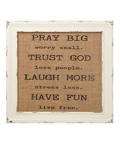 'Pray Big' Burlap Framed Sign by Collins #zulily #zulilyfinds