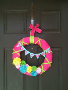 Spring Flower Welcome Wreath by PolkadotsOriginals on Etsy, $38.00