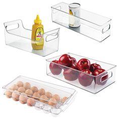 Interdesign Binz Kühlschrank & Gefrierschrank Speisen/Getränke Aufbewahrungsbox/Tabletts/Halter 4PC Set