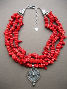 Coral and silver ethnic necklace by Papayaga #jewelry #necklace