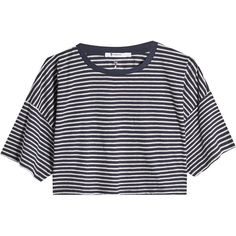 T by Alexander Wang Cropped Cotton T-Shirt (€140) ❤ liked on Polyvore featuring tops, t-shirts, shirts, crop top, clothes - tops, stripes, tee-shirt, striped tee, short sleeve shirts and stripe shirt