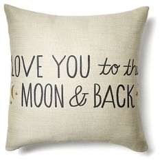 One Kings Lane - Pillow Talk - To The Moon 20x20 Pillow, Ivory