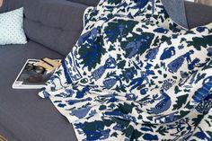 Navy Swiss Fields Blanket