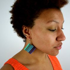 Lavender Mint Stripes Square Macrame Earrings