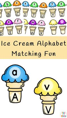 Ice Cream Alphabet Matching Fun - Fun with Mama preschool homeschool printables activities resource free icecream 114912227979748780 Letter Activities, Preschool Learning Activities, Preschool Curriculum, Preschool Lessons, Preschool Activities, Preschool Printables, Free Preschool, Free Alphabet Printables, Alphabet Games